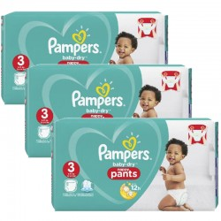 Pampers - Giga pack 208 Couches Baby Dry Pants taille 3 sur Couches Center