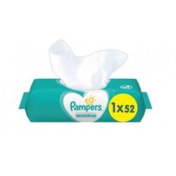 Pampers - Pack 52 Lingettes Bébés Sensitive sur Couches Center