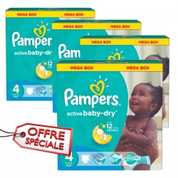 Pampers - Maxi giga pack 350 Couches Active Baby Dry taille 4 sur Couches Center