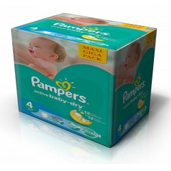 Pampers - Maxi mega pack 490 Couches Active Baby Dry taille 4 sur Couches Center