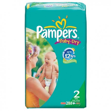 Pampers - 288 Couches Baby Dry taille 2 sur Couches Center
