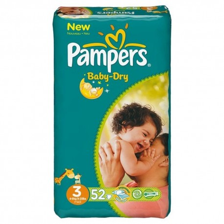 52 couches pampers baby dry taille 3 en promotion sur - Couches pampers baby dry taille 3 ...