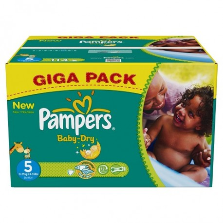 180 Couches Pampers Baby Dry Taille 5 à Bas Prix Sur Couches Center