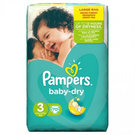 70 couches pampers baby dry taille 3 petit prix sur couches center - Prix couche pampers allemagne ...