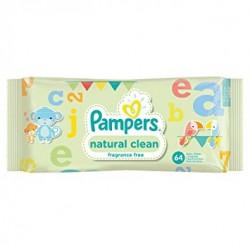 Pampers - 64 Lingettes Bébés Natural Clean sur Couches Center