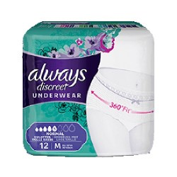 Pack 12 culottes incontinence ALWAYS DISCREET Normal sur Couches Center