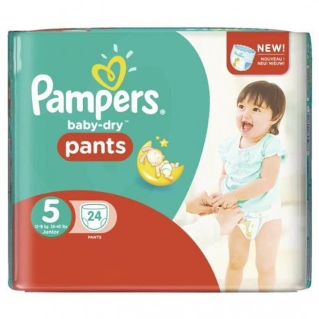 24 Couches Pampers Baby Dry Pants Taille 5 Moins Cher Sur Couches Center
