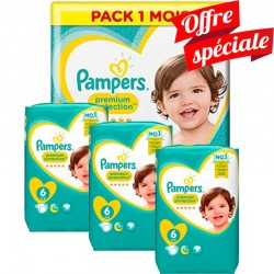 Pampers - Pack Jumeaux 480 Couches New Baby Premium Protection taille 6 sur Couches Center