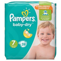 Pampers - Pack 28 Couches Baby Dry taille 7 sur Couches Center
