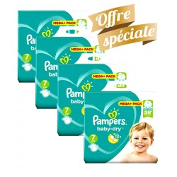 Pampers - Pack Jumeaux 308 Couches Baby Dry taille 7 sur Couches Center