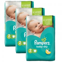 Pampers - 126 Couches Baby Dry taille 2 sur Couches Center