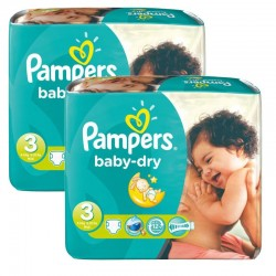 Pampers - 102 Couches Baby Dry taille 3 sur Couches Center