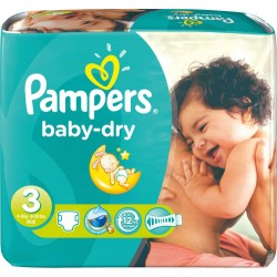 Pampers - 272 Couches Baby Dry taille 3 sur Couches Center