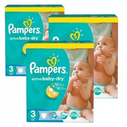 Pampers - Mega pack 164 Couches Active Baby Dry taille 3 sur Couches Center