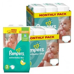 Pampers - Maxi giga pack 328 Couches Active Baby Dry taille 3 sur Couches Center