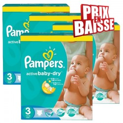 Pampers - Pack 75 Couches Active Baby Dry taille 3 sur Couches Center