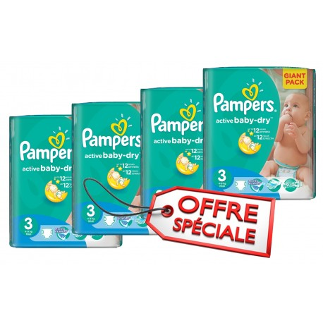 Pampers - Pack 90 Couches Active Baby Dry taille 3 sur Couches Center