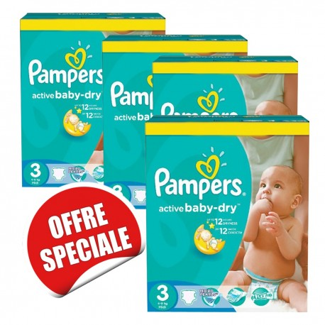 Pampers - Mega pack 120 Couches Active Baby Dry taille 3 sur Couches Center