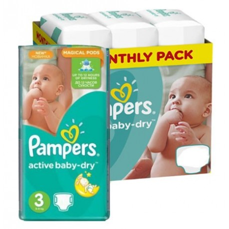 Pampers - Mega pack 180 Couches Active Baby Dry taille 3 sur Couches Center