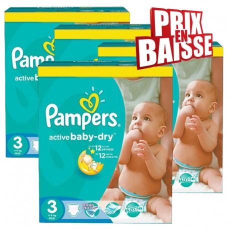 Pampers - Mega pack 195 Couches Active Baby Dry taille 3 sur Couches Center