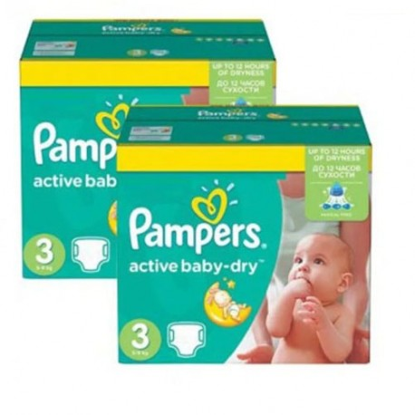 Pampers - Giga pack 255 Couches Active Baby Dry taille 3 sur Couches Center