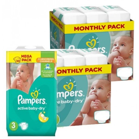Pampers - Maxi giga pack 330 Couches Active Baby Dry taille 3 sur Couches Center