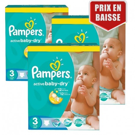 Pampers - Pack jumeaux 744 Couches Active Baby Dry taille 3 sur Couches Center