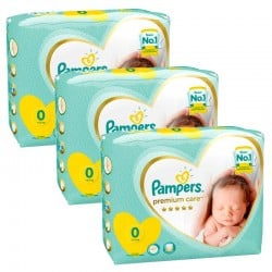 Pampers - Maxi giga pack 300 Couches Premium Care taille 0 sur Couches Center