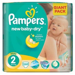 Pampers - Maxi mega pack 476 Couches New Baby Dry taille 2 sur Couches Center