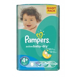 Pampers - Pack 58 Couches Active Baby Dry taille 4+ sur Couches Center