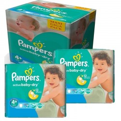 Pampers - Mega pack 116 Couches Active Baby Dry taille 4+ sur Couches Center