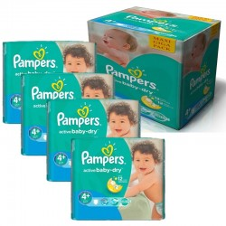 Pampers - Giga pack 232 Couches Active Baby Dry taille 4+ sur Couches Center