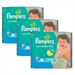 Pampers - Giga pack 290 Couches Active Baby Dry taille 4+ sur Couches Center