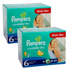 Pampers - Maxi giga pack 336 Couches Active Baby Dry taille 6 sur Couches Center