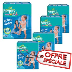 Pampers - Maxi giga pack 384 Couches Active Baby Dry taille 6 sur Couches Center