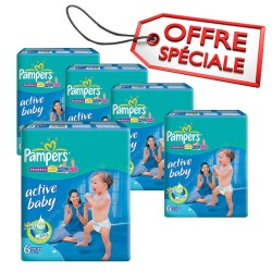 Pampers - Maxi mega pack 432 Couches Active Baby Dry taille 6 sur Couches Center