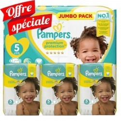 Pampers - Maxi giga pack 300 Couches Premium Protection taille 5 sur Couches Center