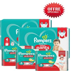 Pampers - Maxi giga pack 300 Couches Baby Dry Pants taille 4 sur Couches Center