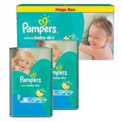 Pampers - Maxi mega pack 418 Couches Active Baby Dry taille 5 sur Couches Center
