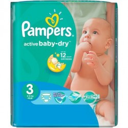 Pampers - Pack 68 Couches Active Baby Dry taille 3 sur Couches Center